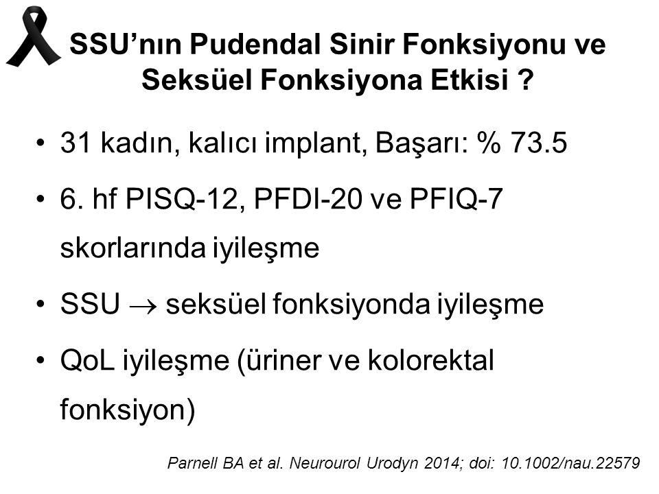 SSU'nın Pudendal Sinir Fonksiyonu ve Seksüel Fonksiyona Etkisi .