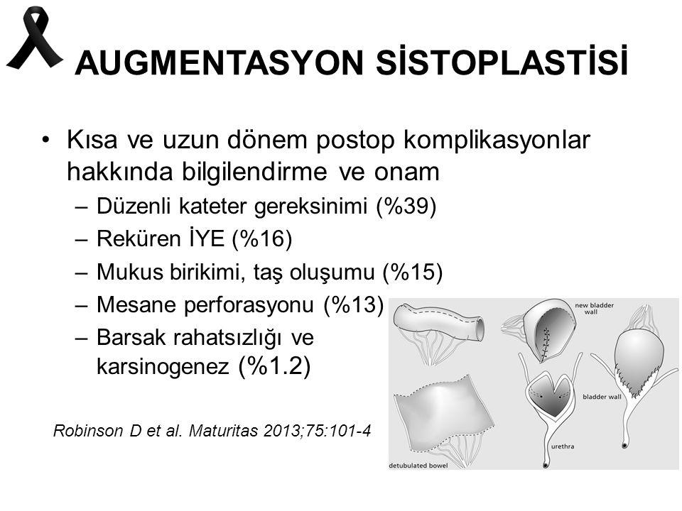 AUGMENTASYON SİSTOPLASTİSİ Kısa ve uzun dönem postop komplikasyonlar hakkında bilgilendirme ve onam –Düzenli kateter gereksinimi (%39) –Reküren İYE (%16) –Mukus birikimi, taş oluşumu (%15) –Mesane perforasyonu (%13) –Barsak rahatsızlığı ve karsinogenez (%1.2) Robinson D et al.