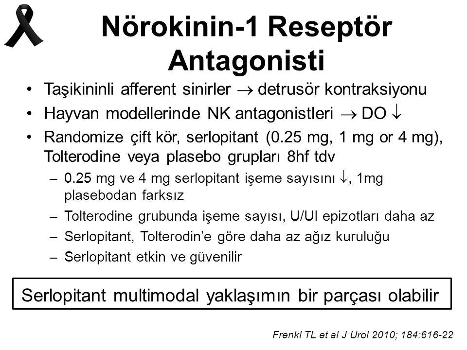 Nörokinin-1 Reseptör Antagonisti Taşikininli afferent sinirler  detrusör kontraksiyonu Hayvan modellerinde NK antagonistleri  DO  Randomize çift kör, serlopitant (0.25 mg, 1 mg or 4 mg), Tolterodine veya plasebo grupları 8hf tdv –0.25 mg ve 4 mg serlopitant işeme sayısını , 1mg plasebodan farksız –Tolterodine grubunda işeme sayısı, U/UI epizotları daha az –Serlopitant, Tolterodin'e göre daha az ağız kuruluğu –Serlopitant etkin ve güvenilir Frenkl TL et al J Urol 2010; 184:616-22 Serlopitant multimodal yaklaşımın bir parçası olabilir