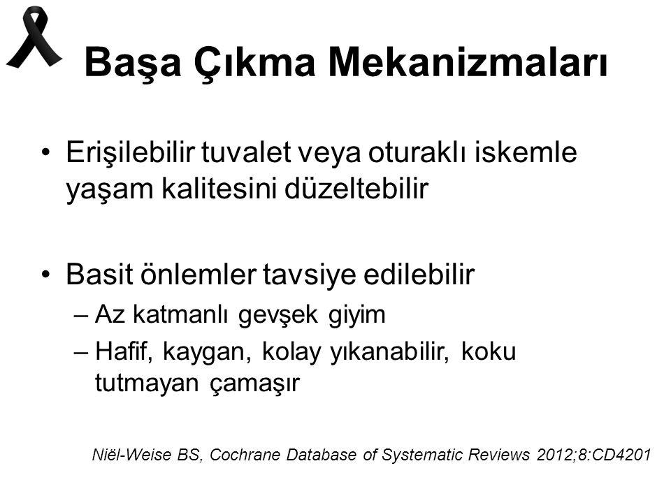 Başa Çıkma Mekanizmaları Erişilebilir tuvalet veya oturaklı iskemle yaşam kalitesini düzeltebilir Basit önlemler tavsiye edilebilir –Az katmanlı gevşek giyim –Hafif, kaygan, kolay yıkanabilir, koku tutmayan çamaşır Niël-Weise BS, Cochrane Database of Systematic Reviews 2012;8:CD4201