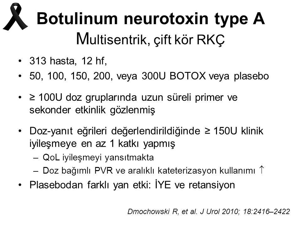 Botulinum neurotoxin type A M ultisentrik, çift kör RKÇ 313 hasta, 12 hf, 50, 100, 150, 200, veya 300U BOTOX veya plasebo ≥ 100U doz gruplarında uzun süreli primer ve sekonder etkinlik gözlenmiş Doz-yanıt eğrileri değerlendirildiğinde ≥ 150U klinik iyileşmeye en az 1 katkı yapmış –QoL iyileşmeyi yansıtmakta –Doz bağımlı PVR ve aralıklı kateterizasyon kullanımı  Plasebodan farklı yan etki: İYE ve retansiyon Dmochowski R, et al.