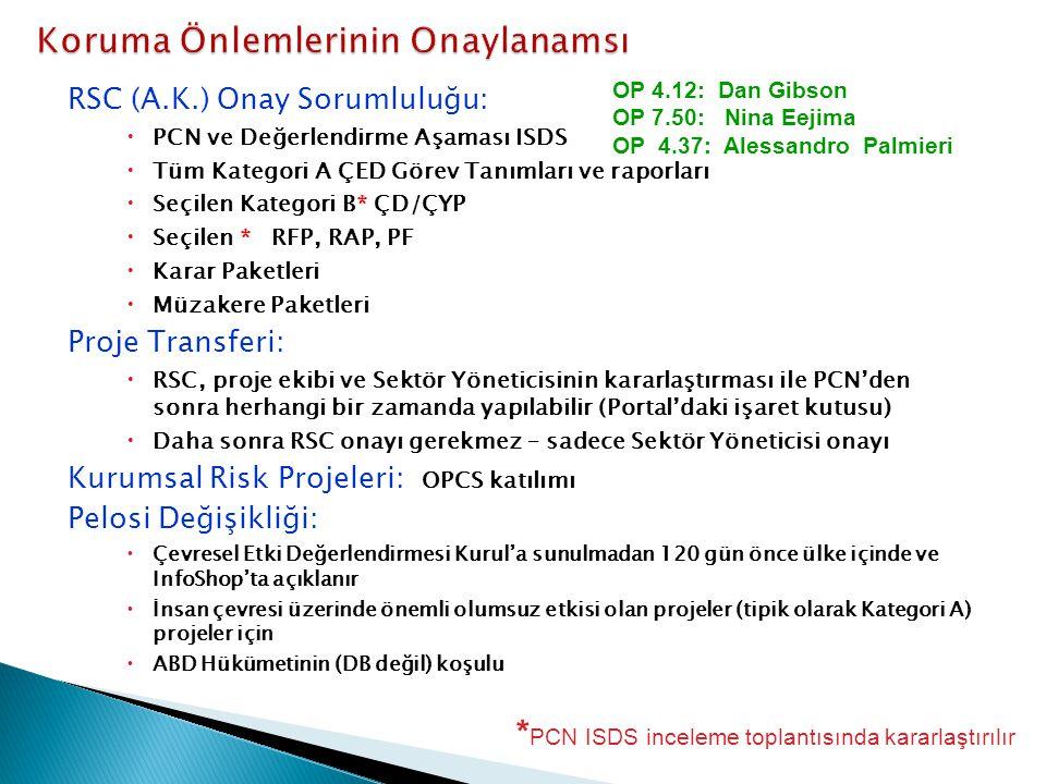 RSC (A.K.) Onay Sorumluluğu:  PCN ve Değerlendirme Aşaması ISDS  Tüm Kategori A ÇED Görev Tanımları ve raporları  Seçilen Kategori B* ÇD/ÇYP  Seçilen * RFP, RAP, PF  Karar Paketleri  Müzakere Paketleri Proje Transferi:  RSC, proje ekibi ve Sektör Yöneticisinin kararlaştırması ile PCN'den sonra herhangi bir zamanda yapılabilir (Portal'daki işaret kutusu)  Daha sonra RSC onayı gerekmez – sadece Sektör Yöneticisi onayı Kurumsal Risk Projeleri: OPCS katılımı Pelosi Değişikliği:  Çevresel Etki Değerlendirmesi Kurul'a sunulmadan 120 gün önce ülke içinde ve InfoShop'ta açıklanır  İnsan çevresi üzerinde önemli olumsuz etkisi olan projeler (tipik olarak Kategori A) projeler için  ABD Hükümetinin (DB değil) koşulu OP 4.12: Dan Gibson OP 7.50: Nina Eejima OP 4.37: Alessandro Palmieri * PCN ISDS inceleme toplantısında kararlaştırılır