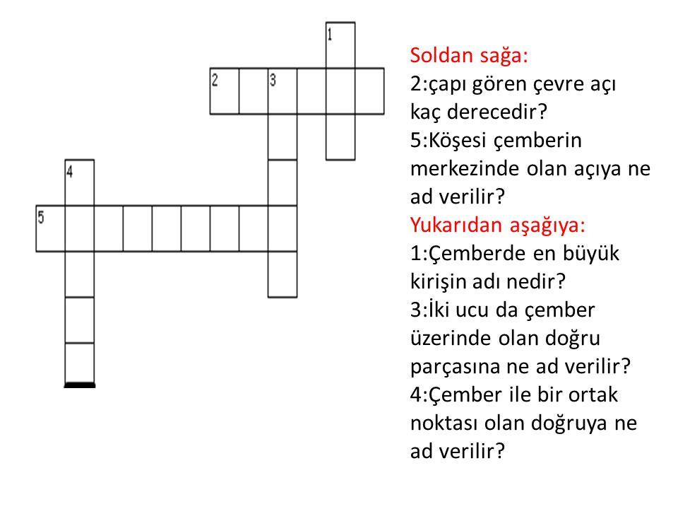Soldan sağa: 2:çapı gören çevre açı kaç derecedir? 5:Köşesi çemberin merkezinde olan açıya ne ad verilir? Yukarıdan aşağıya: 1:Çemberde en büyük kiriş