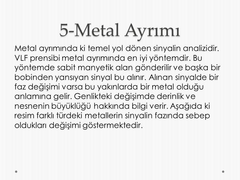 5-Metal Ayrımı Metal ayrımında ki temel yol dönen sinyalin analizidir. VLF prensibi metal ayrımında en iyi yöntemdir. Bu yöntemde sabit manyetik alan