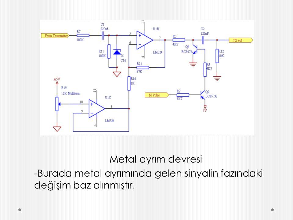 Metal ayrım devresi -Burada metal ayrımında gelen sinyalin fazındaki değişim baz alınmıştır.