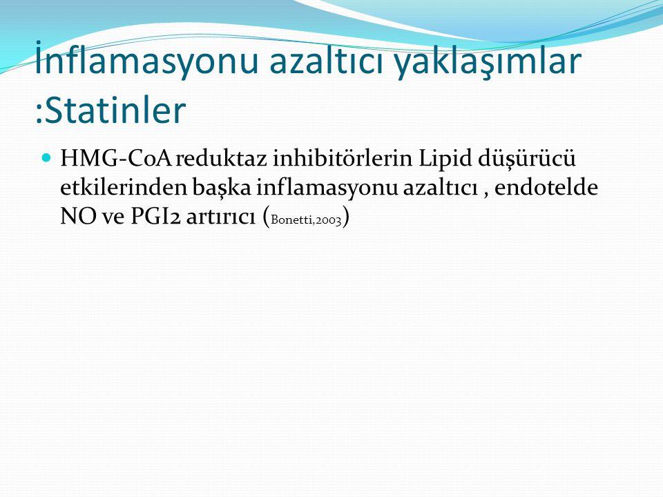 İnflamasyonu azaltıcı yaklaşımlar :Statinler HMG-CoA reduktaz inhibitörlerin Lipid düşürücü etkilerinden başka inflamasyonu azaltıcı, endotelde NO ve