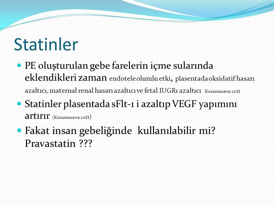 Statinler PE oluşturulan gebe farelerin içme sularında eklendikleri zaman endotele olumlu etki, plasentada oksidatif hasarı azaltıcı, maternal renal h