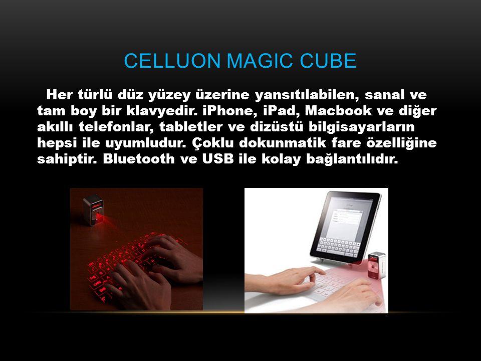 CELLUON MAGIC CUBE Her türlü düz yüzey üzerine yansıtılabilen, sanal ve tam boy bir klavyedir. iPhone, iPad, Macbook ve diğer akıllı telefonlar, table