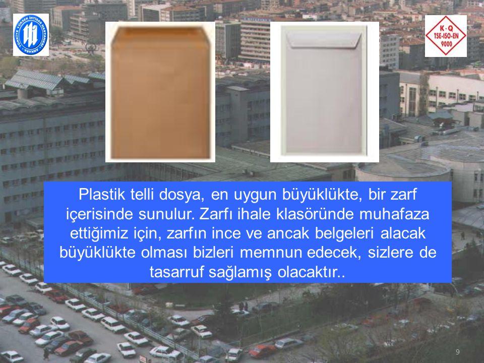 8 Şeffaf dosya gömlekleri, sırasına uygun bir şekilde plastik telli dosya içerisine konulmalıdır.