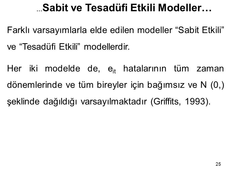 25 Farklı varsayımlarla elde edilen modeller Sabit Etkili ve Tesadüfi Etkili modellerdir.