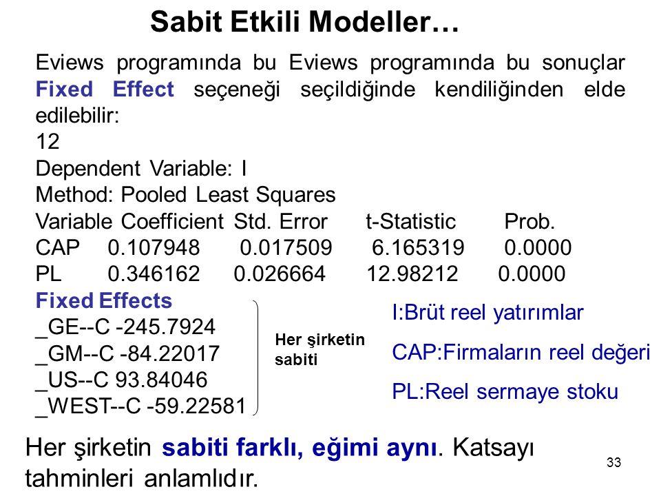 33 Eviews programında bu Eviews programında bu sonuçlar Fixed Effect seçeneği seçildiğinde kendiliğinden elde edilebilir: 12 Dependent Variable: I Method: Pooled Least Squares Variable Coefficient Std.