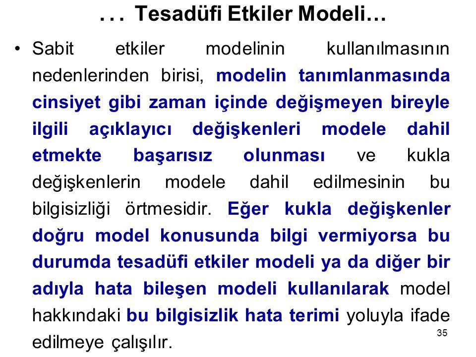 35 … Tesadüfi Etkiler Modeli… Sabit etkiler modelinin kullanılmasının nedenlerinden birisi, modelin tanımlanmasında cinsiyet gibi zaman içinde değişmeyen bireyle ilgili açıklayıcı değişkenleri modele dahil etmekte başarısız olunması ve kukla değişkenlerin modele dahil edilmesinin bu bilgisizliği örtmesidir.