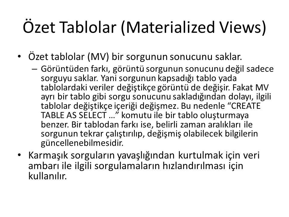Özet Tablolar (Materialized Views) Özet tablolar (MV) bir sorgunun sonucunu saklar. – Görüntüden farkı, görüntü sorgunun sonucunu değil sadece sorguyu