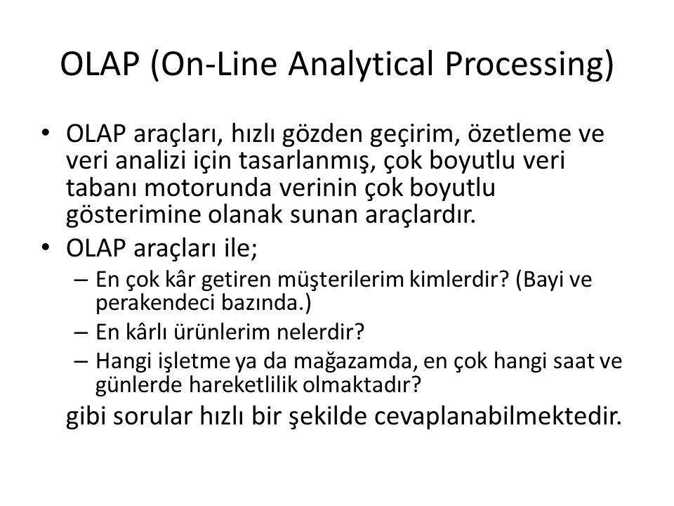 OLAP (On-Line Analytical Processing) OLAP araçları, hızlı gözden geçirim, özetleme ve veri analizi için tasarlanmış, çok boyutlu veri tabanı motorunda