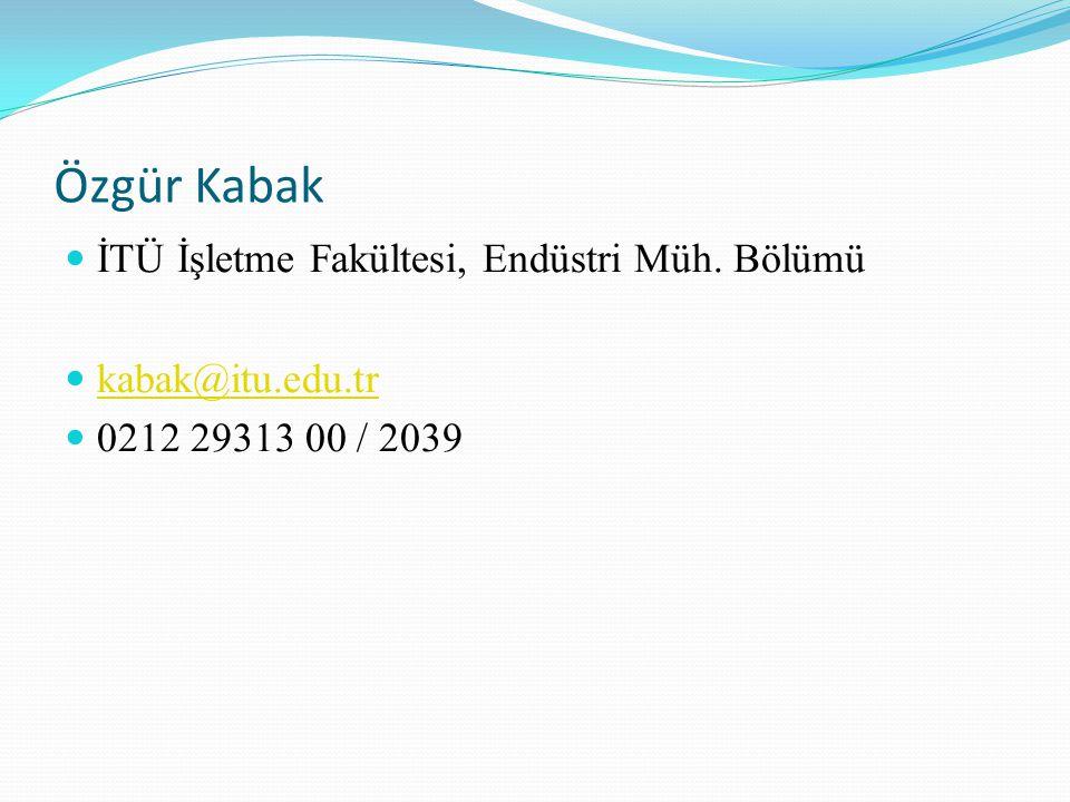 Özgür Kabak İTÜ İşletme Fakültesi, Endüstri Müh. Bölümü kabak@itu.edu.tr 0212 29313 00 / 2039