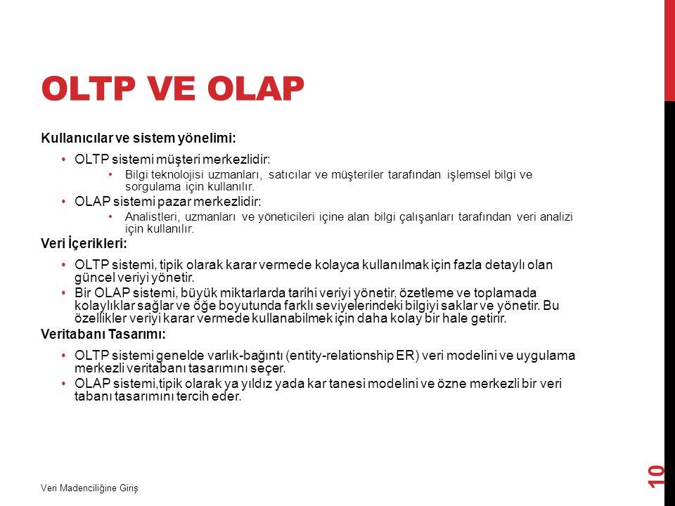 OLTP VE OLAP Kullanıcılar ve sistem yönelimi: OLTP sistemi müşteri merkezlidir: Bilgi teknolojisi uzmanları, satıcılar ve müşteriler tarafından işlems
