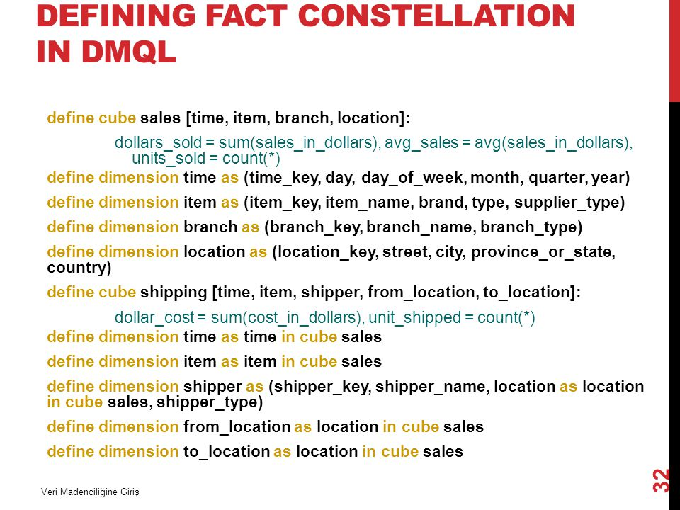 DEFINING FACT CONSTELLATION IN DMQL define cube sales [time, item, branch, location]: dollars_sold = sum(sales_in_dollars), avg_sales = avg(sales_in_d