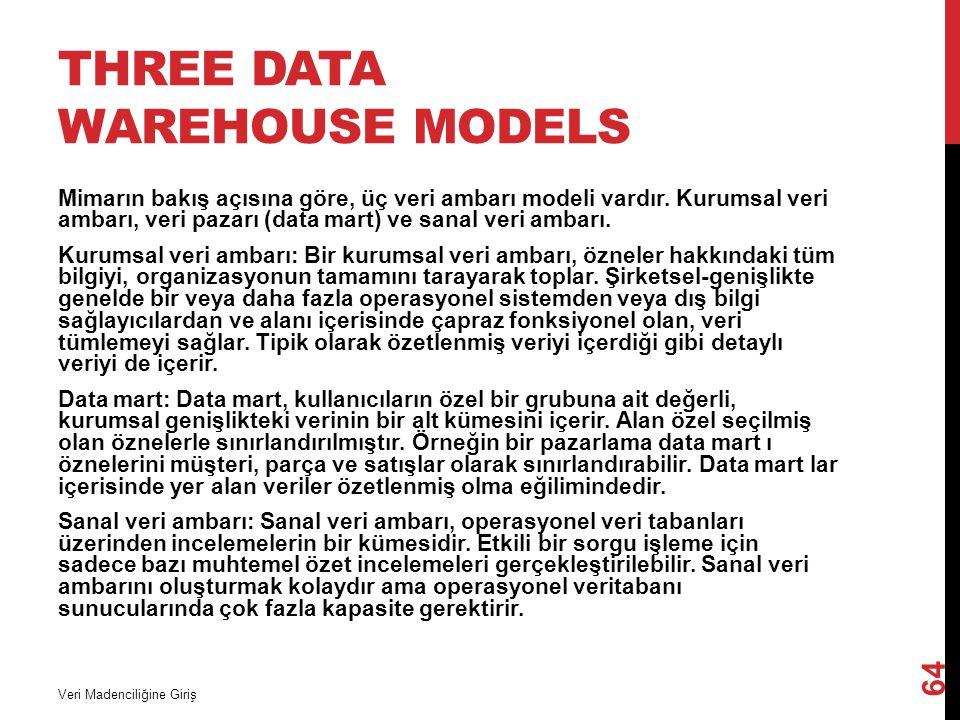 THREE DATA WAREHOUSE MODELS Mimarın bakış açısına göre, üç veri ambarı modeli vardır. Kurumsal veri ambarı, veri pazarı (data mart) ve sanal veri amba