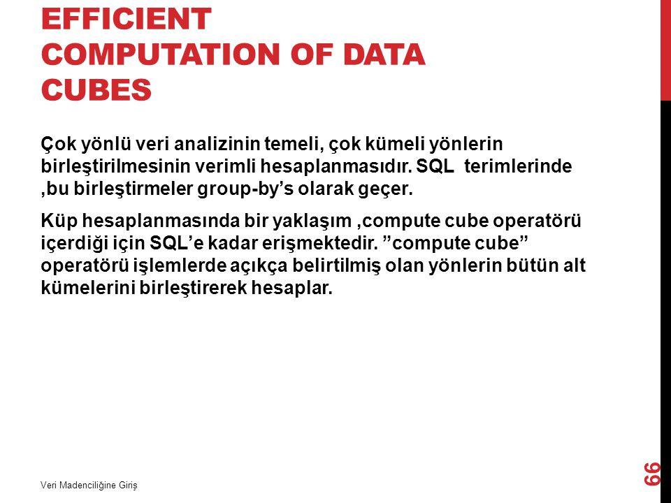 EFFICIENT COMPUTATION OF DATA CUBES Çok yönlü veri analizinin temeli, çok kümeli yönlerin birleştirilmesinin verimli hesaplanmasıdır. SQL terimlerinde