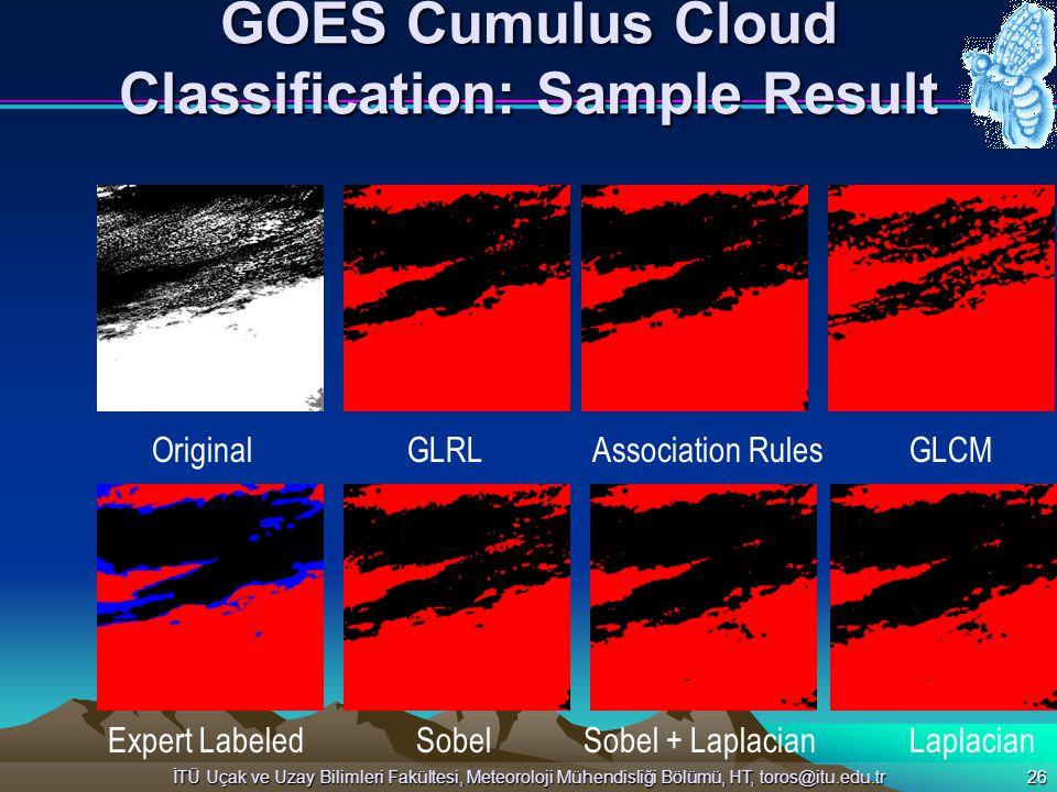 İTÜ Uçak ve Uzay Bilimleri Fakültesi, Meteoroloji Mühendisliği Bölümü, HT, toros@itu.edu.tr 26 GOES Cumulus Cloud Classification: Sample Result Origin