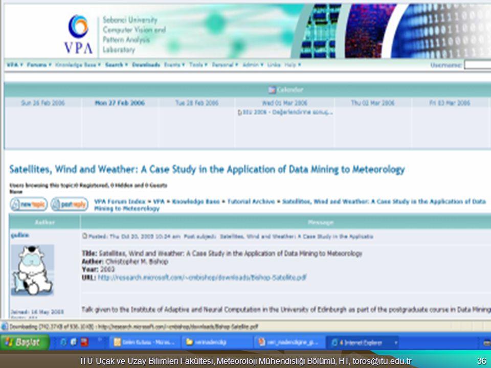 İTÜ Uçak ve Uzay Bilimleri Fakültesi, Meteoroloji Mühendisliği Bölümü, HT, toros@itu.edu.tr 36