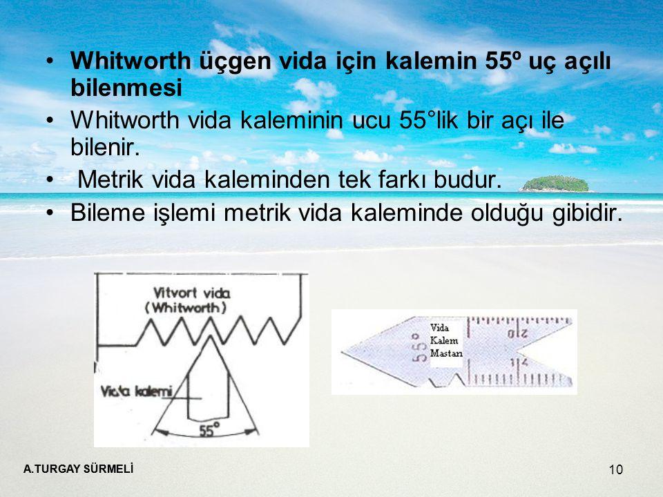 A.TURGAY SÜRMELİ 10 Whitworth üçgen vida için kalemin 55º uç açılı bilenmesi Whitworth vida kaleminin ucu 55°lik bir açı ile bilenir.