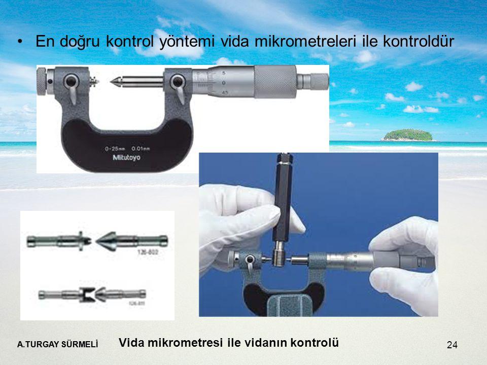 A.TURGAY SÜRMELİ 24 En doğru kontrol yöntemi vida mikrometreleri ile kontroldür Vida mikrometresi ile vidanın kontrolü