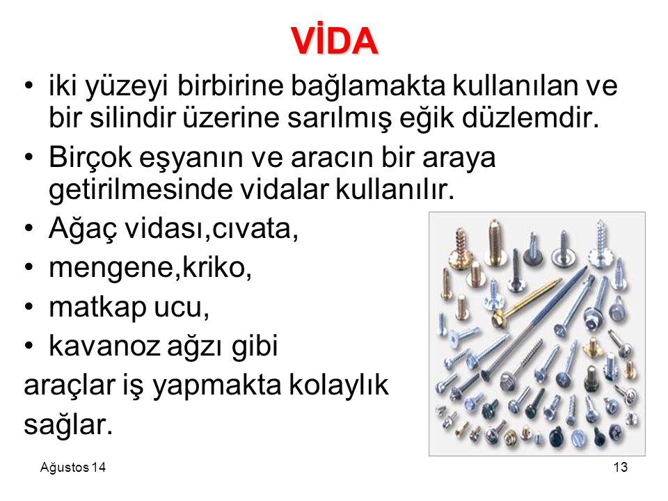 Ağustos 1413 VİDA iki yüzeyi birbirine bağlamakta kullanılan ve bir silindir üzerine sarılmış eğik düzlemdir. Birçok eşyanın ve aracın bir araya getir