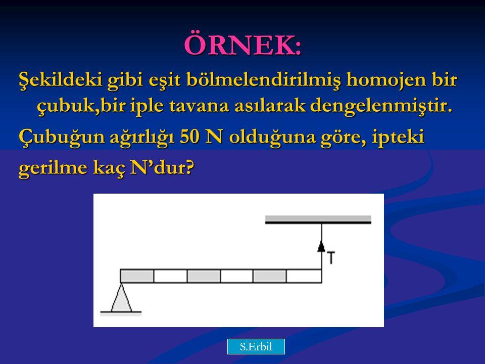 Y.Y ÖRNEK: Şekildeki gibi eşit bölmelendirilmiş homojen bir çubuk,bir iple tavana asılarak dengelenmiştir.