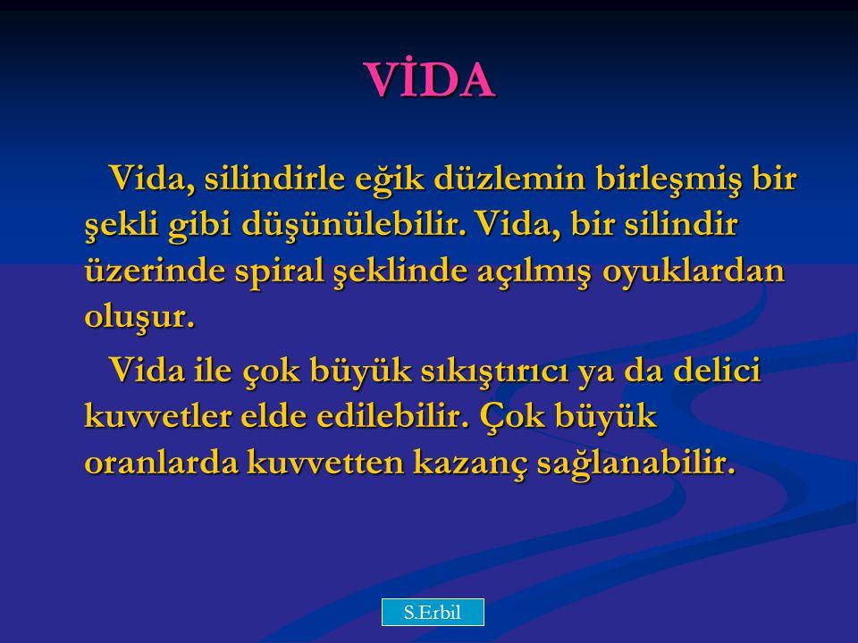 Y.Y VİDA Vida, silindirle eğik düzlemin birleşmiş bir şekli gibi düşünülebilir. Vida, bir silindir üzerinde spiral şeklinde açılmış oyuklardan oluşur.