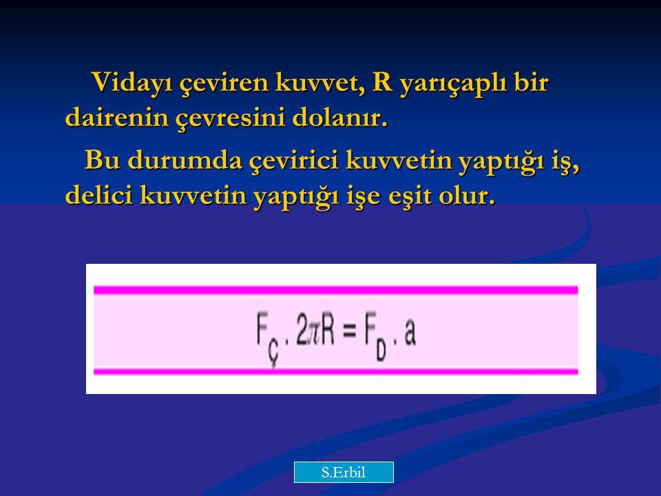 Y.Y Vidayı çeviren kuvvet, R yarıçaplı bir dairenin çevresini dolanır. Vidayı çeviren kuvvet, R yarıçaplı bir dairenin çevresini dolanır. Bu durumda ç
