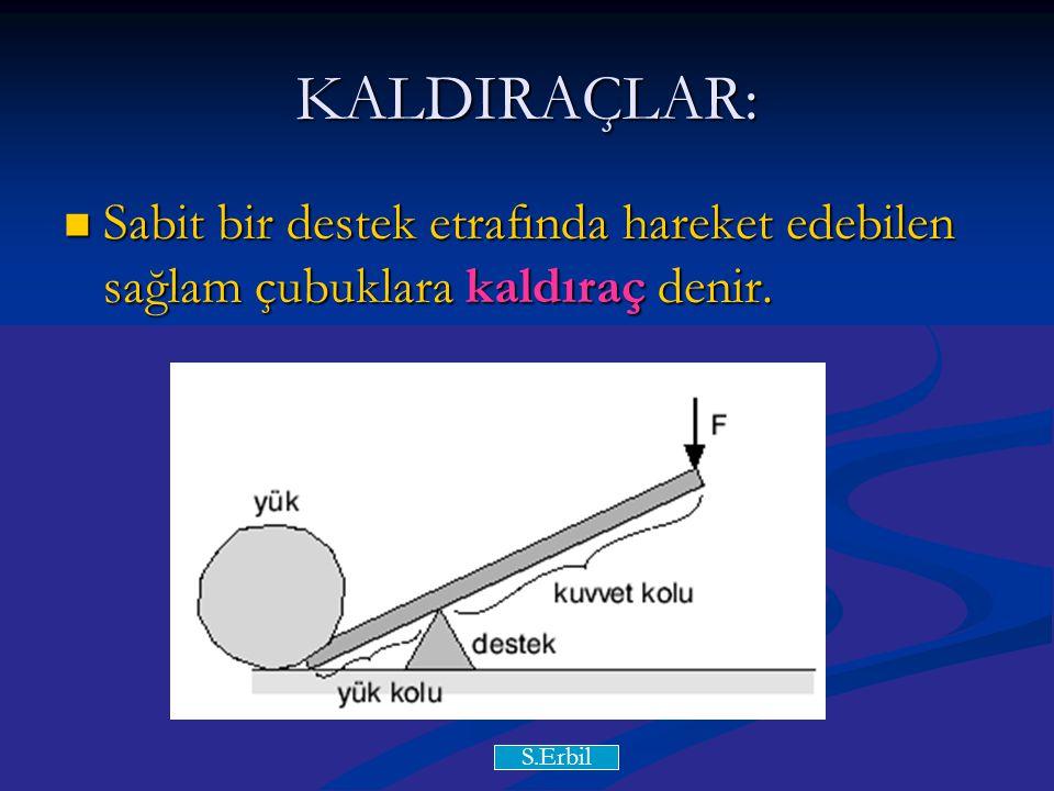 Y.Y KALDIRAÇLAR: Sabit bir destek etrafında hareket edebilen sağlam çubuklara kaldıraç denir.