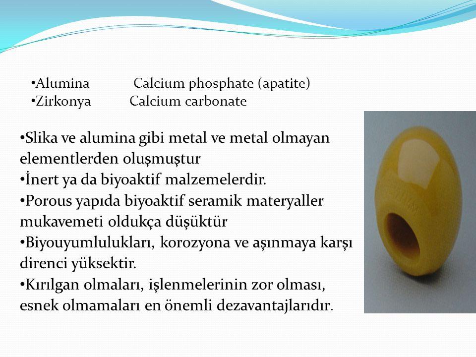 Slika ve alumina gibi metal ve metal olmayan elementlerden oluşmuştur İnert ya da biyoaktif malzemelerdir. Porous yapıda biyoaktif seramik materyaller