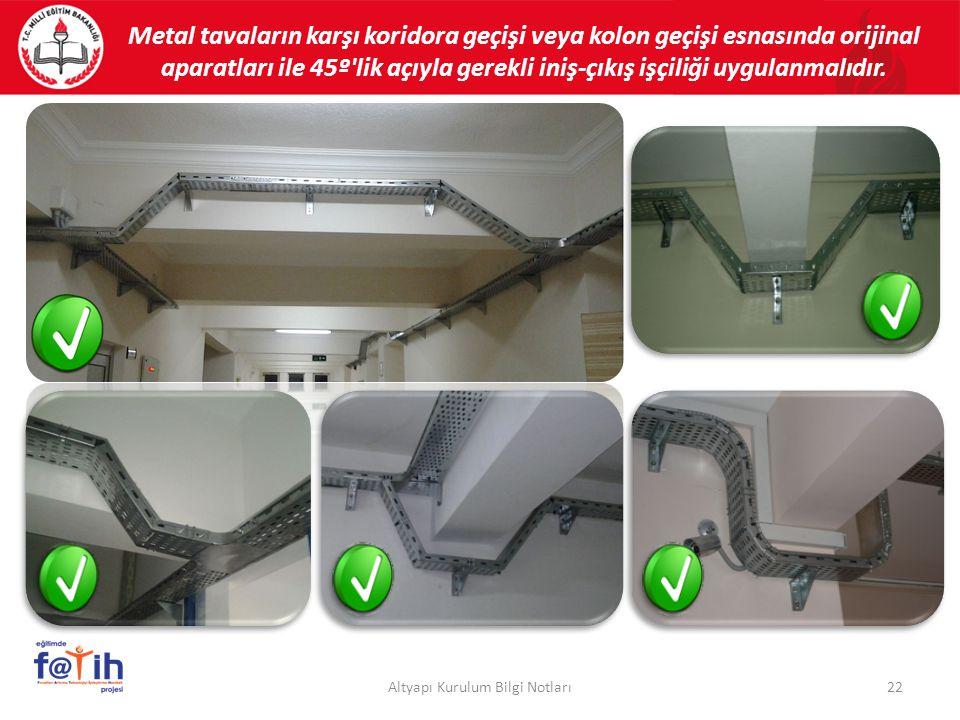 Metal tavaların karşı koridora geçişi veya kolon geçişi esnasında orijinal aparatları ile 45º'lik açıyla gerekli iniş-çıkış işçiliği uygulanmalıdır. 2