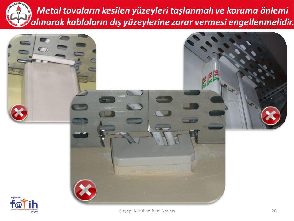Metal tavaların kesilen yüzeyleri taşlanmalı ve koruma önlemi alınarak kabloların dış yüzeylerine zarar vermesi engellenmelidir. 26Altyapı Kurulum Bil