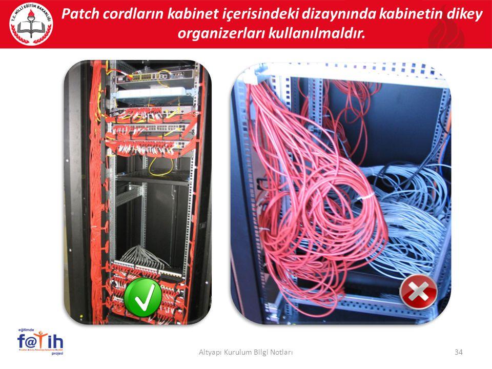 Patch cordların kabinet içerisindeki dizaynında kabinetin dikey organizerları kullanılmaldır. 34Altyapı Kurulum Bilgi Notları