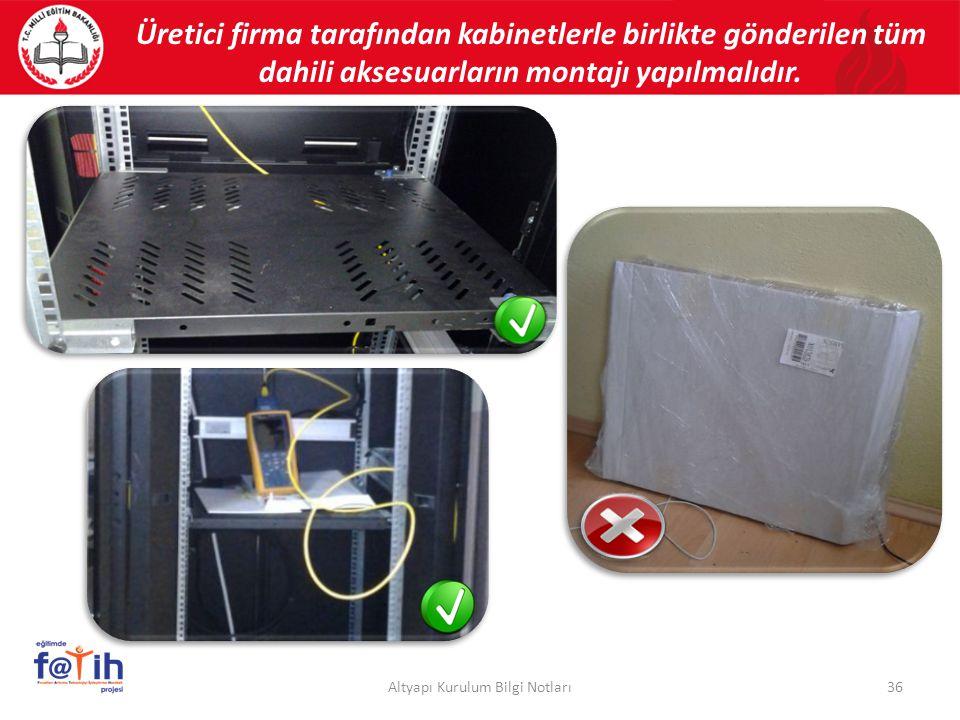 Üretici firma tarafından kabinetlerle birlikte gönderilen tüm dahili aksesuarların montajı yapılmalıdır. 36Altyapı Kurulum Bilgi Notları