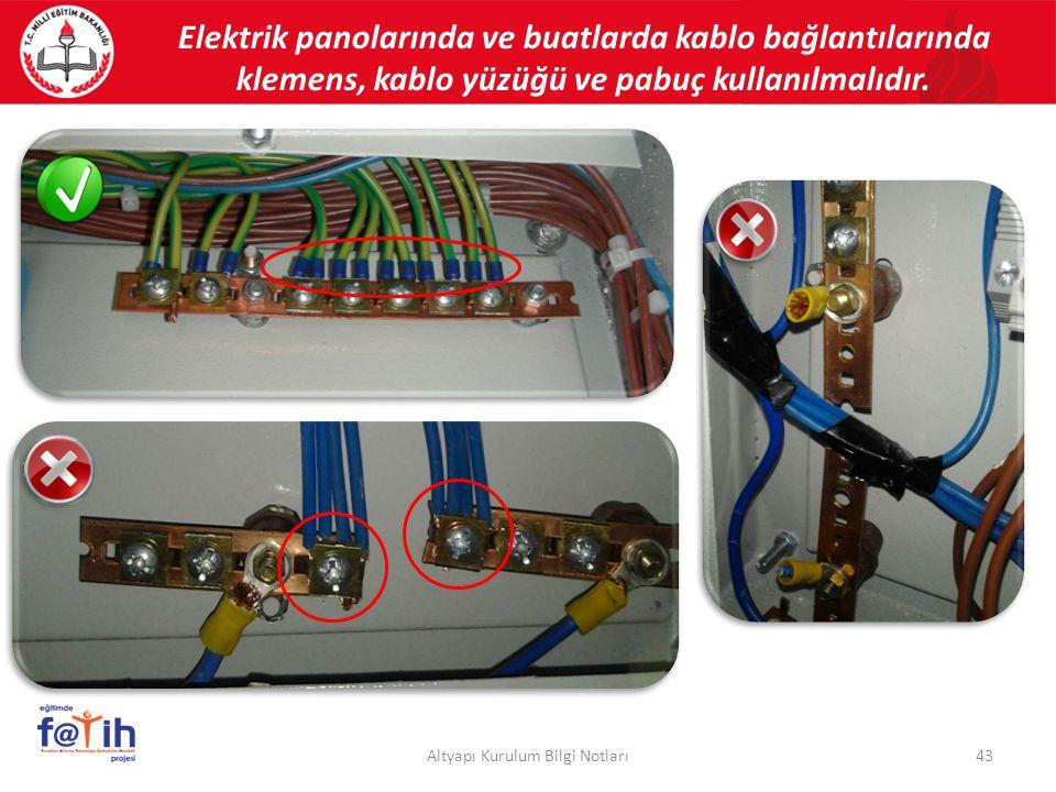 Elektrik panolarında ve buatlarda kablo bağlantılarında klemens, kablo yüzüğü ve pabuç kullanılmalıdır. 43Altyapı Kurulum Bilgi Notları