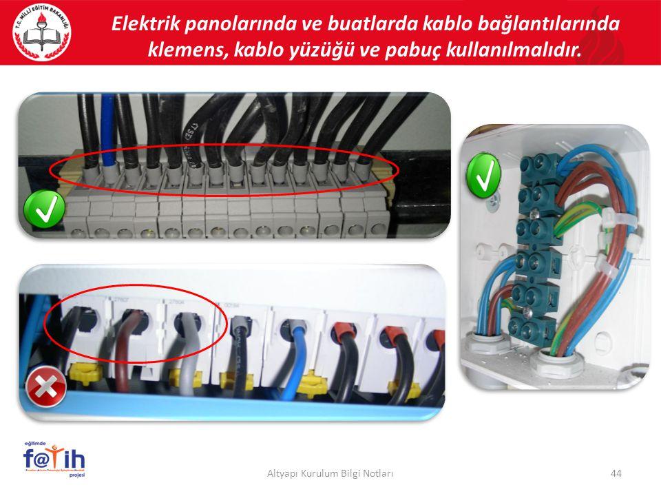 44Altyapı Kurulum Bilgi Notları Elektrik panolarında ve buatlarda kablo bağlantılarında klemens, kablo yüzüğü ve pabuç kullanılmalıdır.