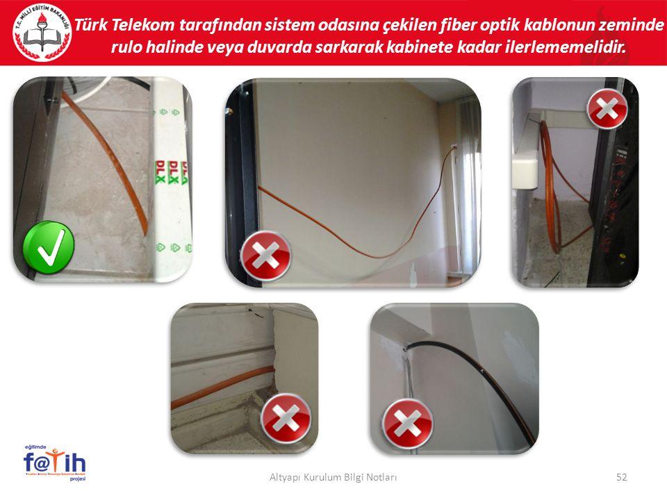 Türk Telekom tarafından sistem odasına çekilen fiber optik kablonun zeminde rulo halinde veya duvarda sarkarak kabinete kadar ilerlememelidir. 52Altya