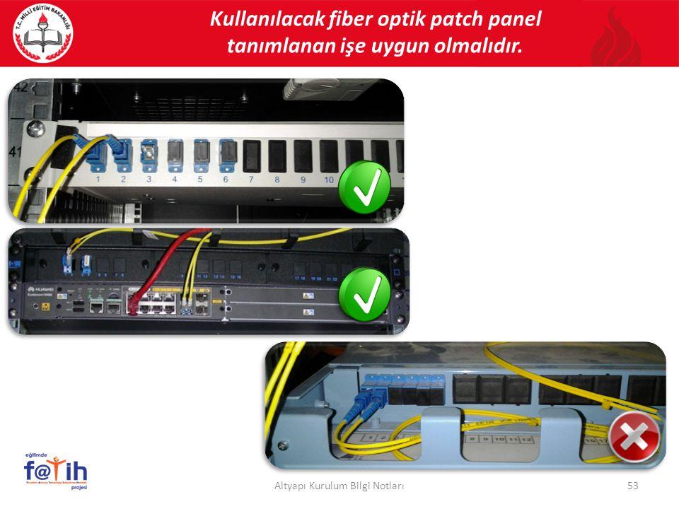 Kullanılacak fiber optik patch panel tanımlanan işe uygun olmalıdır. 53Altyapı Kurulum Bilgi Notları