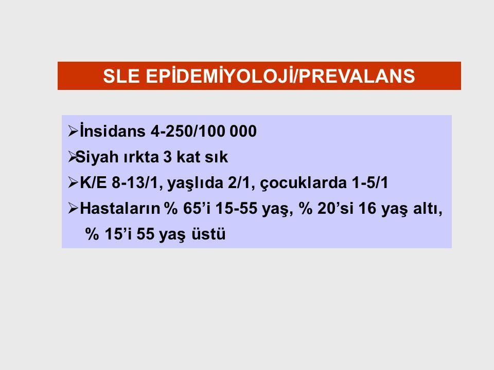 SLE EPİDEMİYOLOJİ/PREVALANS   İnsidans 4-250/100 000   Siyah ırkta 3 kat sık   K/E 8-13/1, yaşlıda 2/1, çocuklarda 1-5/1   Hastaların % 65'i 1