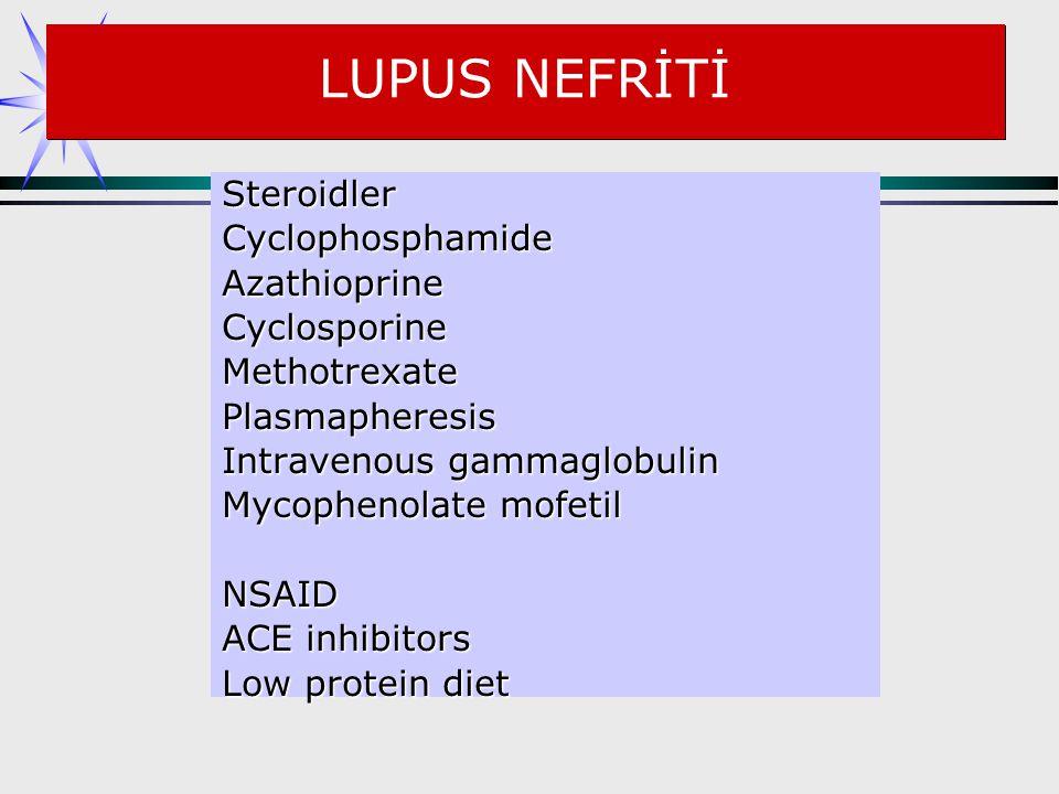 LUPUS NEFRİTİ Steroidler CyclophosphamideAzathioprineCyclosporineMethotrexatePlasmapheresis Intravenous gammaglobulin Mycophenolate mofetil NSAID ACE