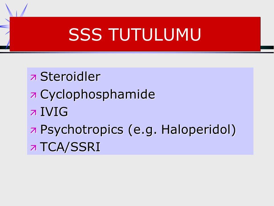 SSS TUTULUMU ä Steroidler ä Cyclophosphamide ä IVIG ä Psychotropics (e.g. Haloperidol) ä TCA/SSRI