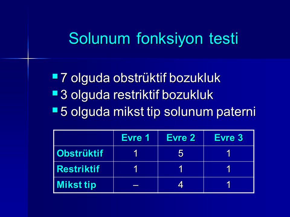 Solunum fonksiyon testi  7 olguda obstrüktif bozukluk  3 olguda restriktif bozukluk  5 olguda mikst tip solunum paterni Evre 1 Evre 2 Evre 3 Obstrü