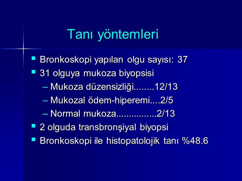 Tanı yöntemleri  Bronkoskopi yapılan olgu sayısı: 37  31 olguya mukoza biyopsisi –Mukoza düzensizliği........12/13 –Mukozal ödem-hiperemi....2/5 –No