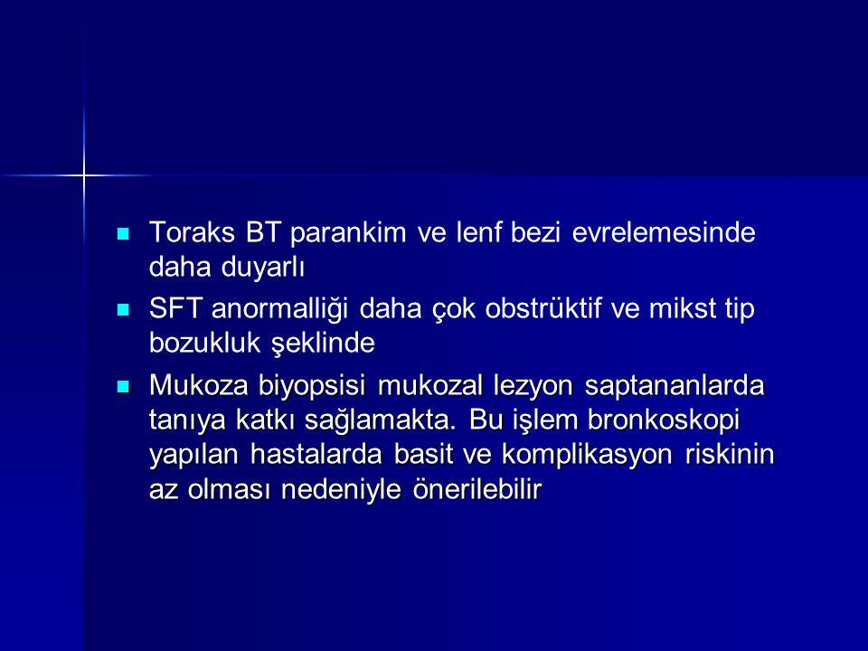Toraks BT parankim ve lenf bezi evrelemesinde daha duyarlı SFT anormalliği daha çok obstrüktif ve mikst tip bozukluk şeklinde Mukoza biyopsisi mukozal