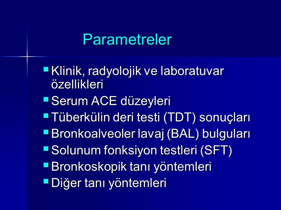 Parametreler  Klinik, radyolojik ve laboratuvar özellikleri  Serum ACE düzeyleri  Tüberkülin deri testi (TDT) sonuçları  Bronkoalveoler lavaj (BAL