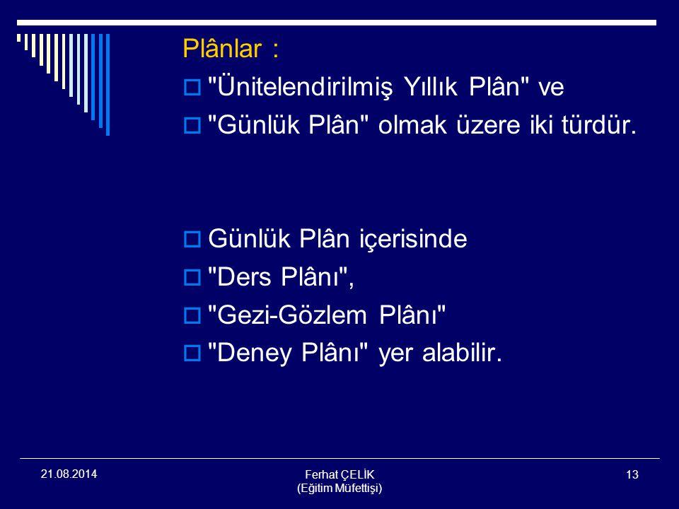 Ferhat ÇELİK (Eğitim Müfettişi) 13 21.08.2014 Plânlar : 