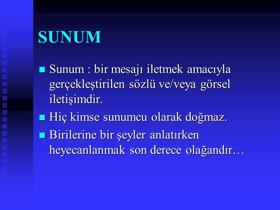SUNUM Sunum : bir mesajı iletmek amacıyla gerçekleştirilen sözlü ve/veya görsel iletişimdir. Sunum : bir mesajı iletmek amacıyla gerçekleştirilen sözl